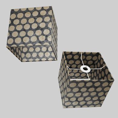 Square Lamp Shade - P78 - Batik Dots on Grey, 20cm(w) x 20cm(h) x 20cm(d)