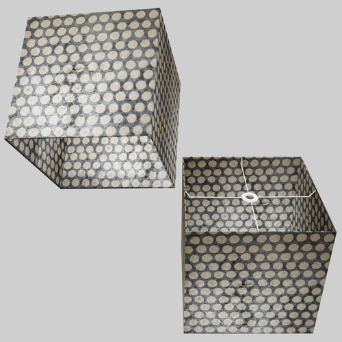 Square Lamp Shade - P78 - Batik Dots on Grey, 40cm(w) x 40cm(h) x 40cm(d)