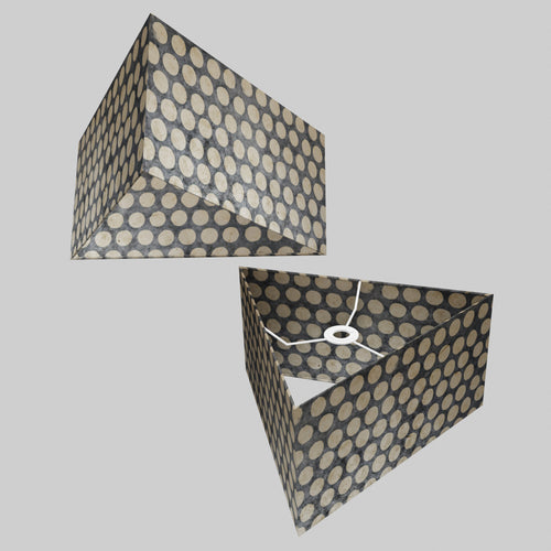Triangle Lamp Shade - P78 - Batik Dots on Grey, 40cm(w) x 20cm(h)
