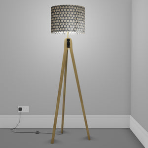 Oak Tripod Floor Lamp - P78 - Batik Dots on Grey