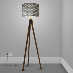 Sapele Tripod Floor Lamp - P78 - Batik Dots on Grey