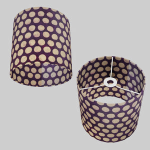 Drum Lamp Shade - P79 - Batik Dots on Purple, 25cm x 25cm