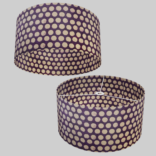 Drum Lamp Shade - P79 - Batik Dots on Purple, 50cm(d) x 25cm(h)