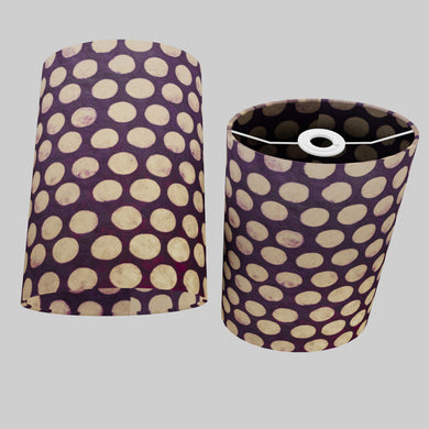 Oval Lamp Shade - P79 - Batik Dots Purple, 20cm(w) x 30cm(h) x 13cm(d)
