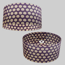 Oval Lamp Shade - P79 - Batik Dots Purple, 40cm(w) x 20cm(h) x 30cm(d)
