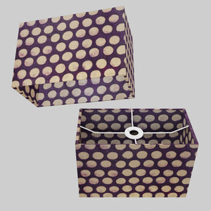 Rectangle Lamp Shade - P79 - Batik Dots Purple, 30cm(w) x 20cm(h) x 15cm(d)