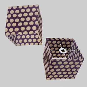 Square Lamp Shade - P79 - Batik Dots Purple, 20cm(w) x 20cm(h) x 20cm(d)