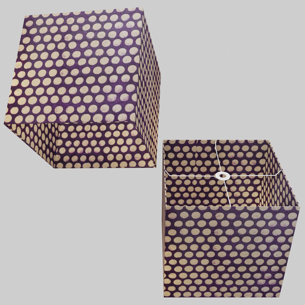 Square Lamp Shade - P79 - Batik Dots Purple, 40cm(w) x 40cm(h) x 40cm(d)