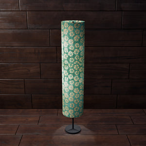 Drum Floor Lamp - P80 ~ Batik Star Flower Mint Green, 22cm(d) x 114cm(h) - Imbue Lighting