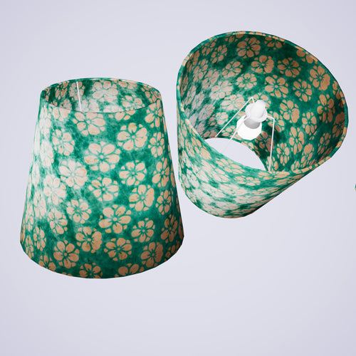 Conical Lamp Shade P80 - Batik Star Flower Mint Green, 23cm(top) x 35cm(bottom) x 31cm(height)