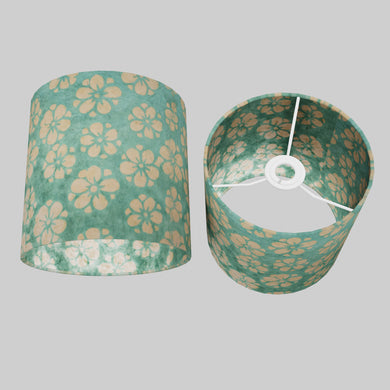 Drum Lamp Shade - P80 ~ Batik Star Flower Mint Green, 20cm(d) x 20cm(h)