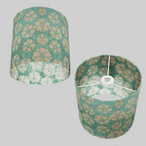Drum Lamp Shade - P80 - Batik Star Flower Mint Green, 25cm x 25cm