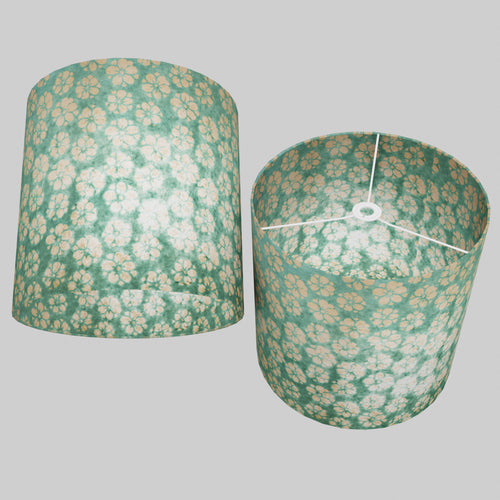 Drum Lamp Shade - P80 ~ Batik Star Flower Mint Green, 40cm(d) x 40cm(h)