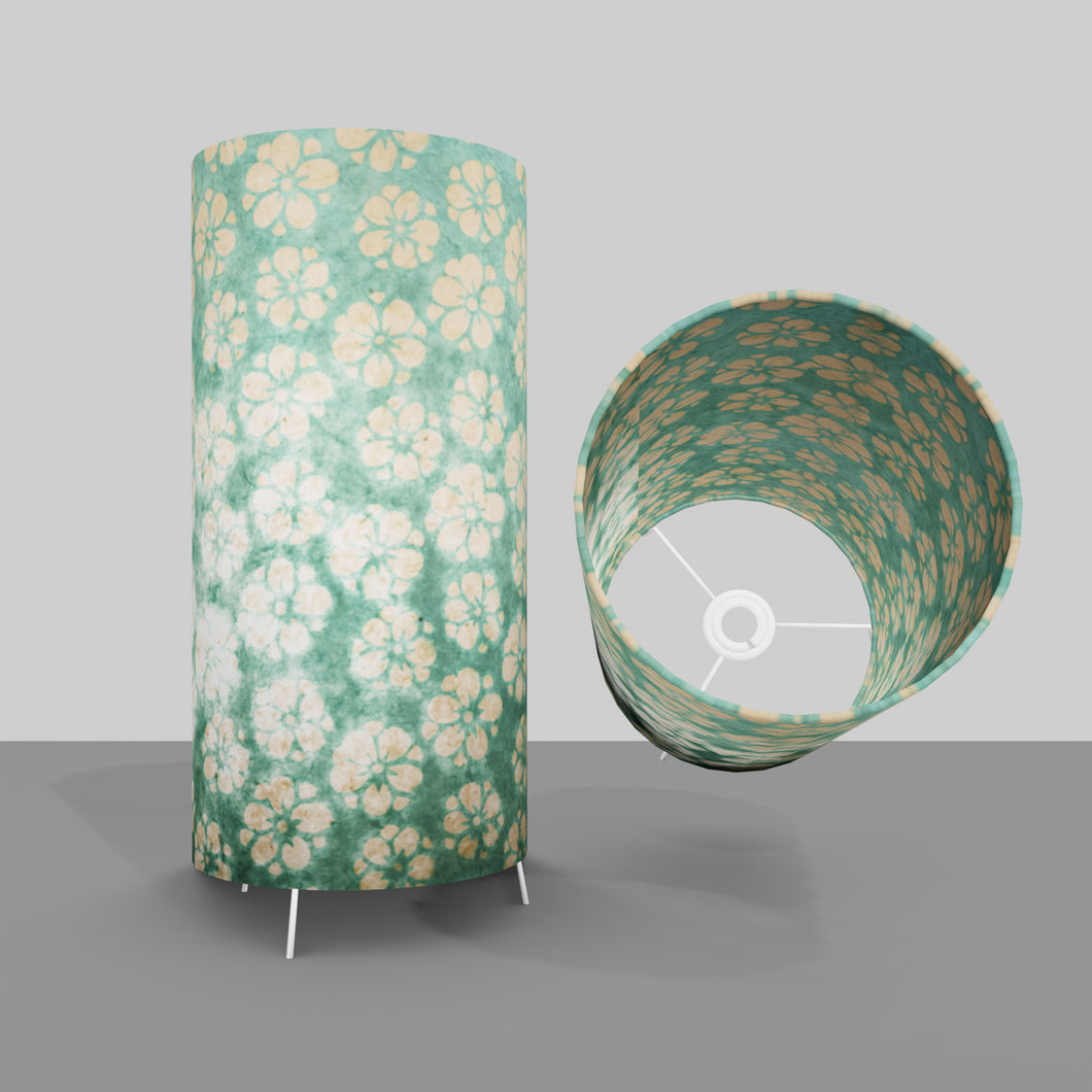 Free Standing Table Lamp Large - P80 ~ Batik Star Flower Mint Green