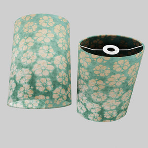 Oval Lamp Shade - P80 ~ Batik Star Flower Mint Green, 20cm(w) x 30cm(h) x 13cm(d)