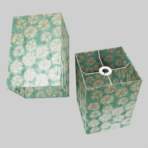 Square Lamp Shade - Batik Star Flower Mint Green , 20cm(w) x 30cm(h) x 20cm(d)