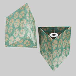 Triangle Lamp Shade - P80 ~ Batik Star Flower Mint Green, 20cm(w) x 20cm(h)