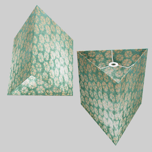 Triangle Lamp Shade - P80 ~ Batik Star Flower Mint Green, 40cm(w) x 40cm(h)
