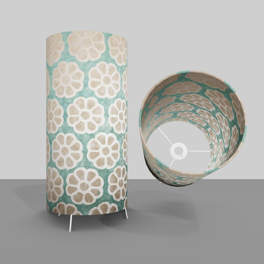 Free Standing Table Lamp Large - P81 ~ Batik Big Flower on Mint Green