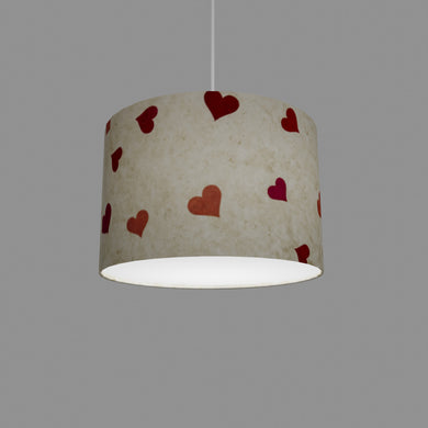 Drum Lamp Shade - P82 ~ Hearts on Lokta Paper, 30cm(d) x 20cm(h)