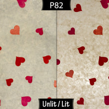 Square Lamp Shade - P82 ~ Hearts on Lokta Paper, 40cm(w) x 20cm(h) x 40cm(d) - Imbue Lighting