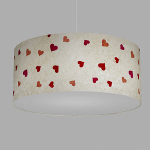Drum Lamp Shade - P82 ~ Hearts on Lokta Paper, 70cm(d) x 30cm(h)
