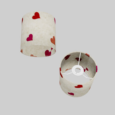 Drum Lamp Shade - P82 ~ Hearts on Lokta Paper, 15cm(d) x 15cm(h)