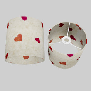Drum Lamp Shade - P82 ~ Hearts on Lokta Paper, 20cm(d) x 20cm(h)