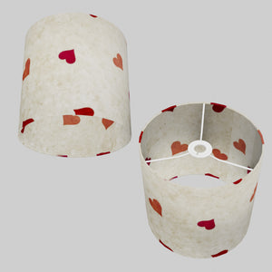 Drum Lamp Shade - P82 - Hearts on Lokta Paper, 25cm x 25cm