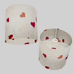 Drum Lamp Shade - P82 ~ Hearts on Lokta Paper, 30cm(d) x 30cm(h)