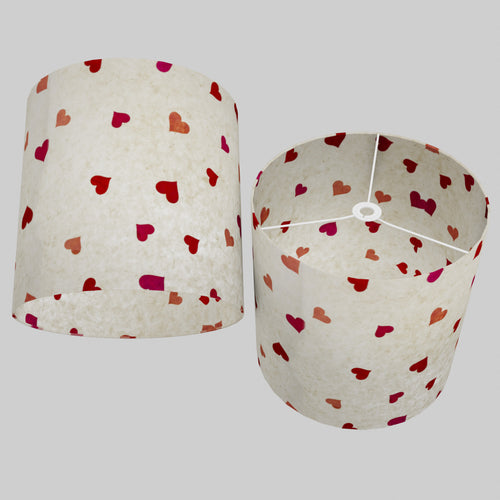 Drum Lamp Shade - P82 ~ Hearts on Lokta Paper, 40cm(d) x 40cm(h)