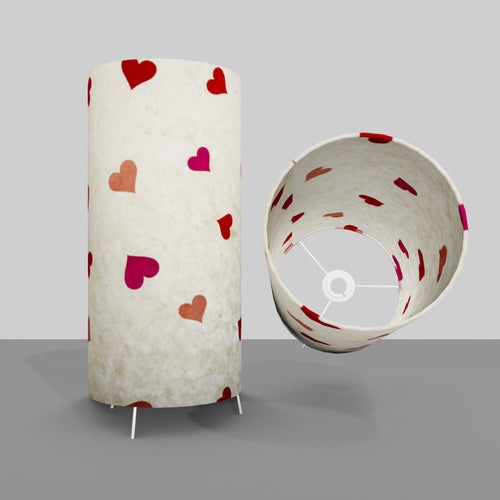 Free Standing Table Lamp Large - P82 ~ Hearts on Lokta Paper