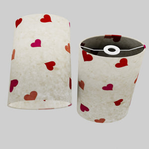 Oval Lamp Shade - P82 ~ Hearts on Lokta Paper, 20cm(w) x 30cm(h) x 13cm(d)