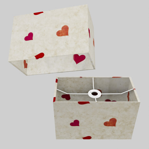 Rectangle Lamp Shade - P82 ~ Hearts on Lokta Paper, 30cm(w) x 20cm(h) x 15cm(d)