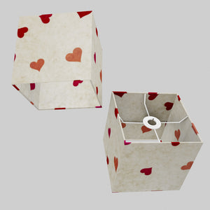 Square Lamp Shade - P82 ~ Hearts on Lokta Paper, 20cm(w) x 20cm(h) x 20cm(d)