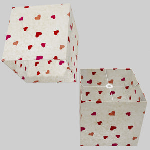 Square Lamp Shade - P82 ~ Hearts on Lokta Paper, 40cm(w) x 40cm(h) x 40cm(d)