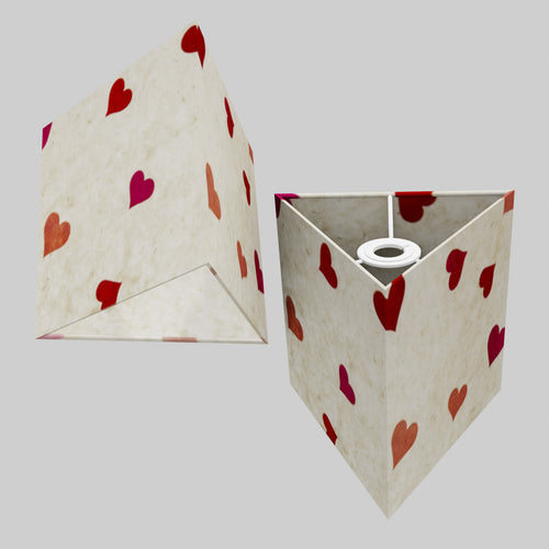 Triangle Lamp Shade - P82 ~ Hearts on Lokta Paper, 20cm(w) x 20cm(h)