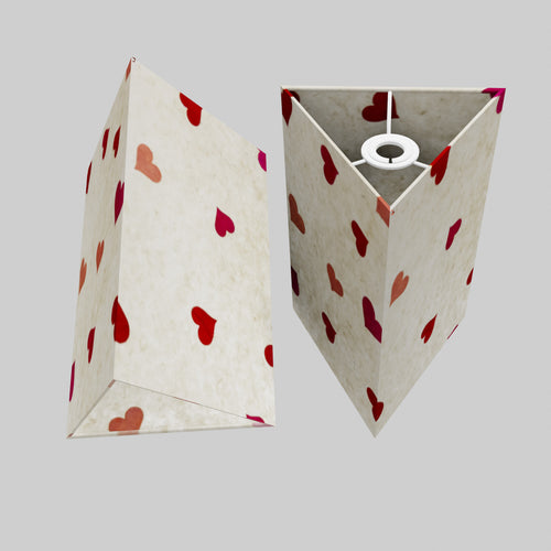 Triangle Lamp Shade - P82 ~ Hearts on Lokta Paper, 20cm(w) x 30cm(h)