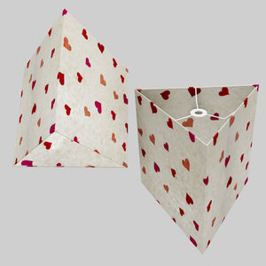 Triangle Lamp Shade - P82 ~ Hearts on Lokta Paper, 40cm(w) x 40cm(h)