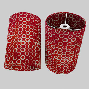 Drum Lamp Shade - P83 ~ Batik Red Circles, 20cm(d) x 30cm(h)