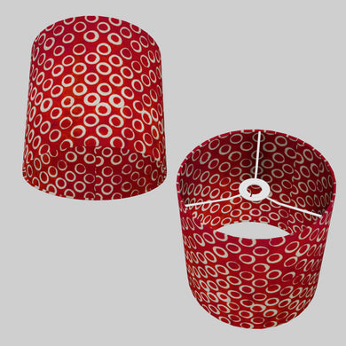 Drum Lamp Shade - P83 - Batik Red Circles, 25cm x 25cm