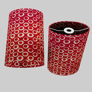 Oval Lamp Shade - P83 ~ Batik Red Circles, 20cm(w) x 30cm(h) x 13cm(d)