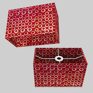Rectangle Lamp Shade - P83 ~ Batik Red Circles, 30cm(w) x 20cm(h) x 15cm(d)