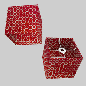 Square Lamp Shade - P83 ~ Batik Red Circles, 20cm(w) x 20cm(h) x 20cm(d)