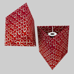 Triangle Lamp Shade - P83 ~ Batik Red Circles, 20cm(w) x 20cm(h)