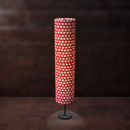 Drum Floor Lamp - P84 ~ Batik Dots on Red, 22cm(d) x 114cm(h)