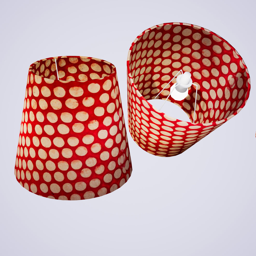 Conical Lamp Shade P84 - Batik Dots on Red, 23cm(top) x 35cm(bottom) x 31cm(height)
