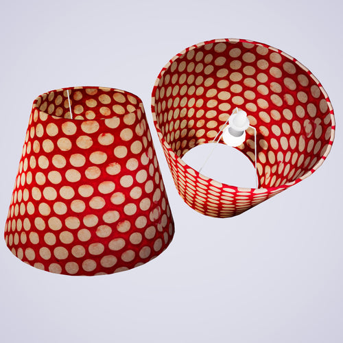 Conical Lamp Shade P84 - Batik Dots on Red, 23cm(top) x 40cm(bottom) x 31cm(height)
