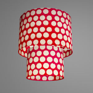 2 Tier Lamp Shade - P84 - Batik Dots on Red, 30cm x 20cm & 20cm x 15cm