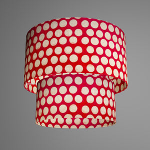2 Tier Lamp Shade - P84 - Batik Dots on Red, 40cm x 20cm & 30cm x 15cm